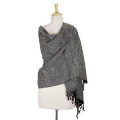 Wool blend shawl, 'Black Kullo Diamonds' NOVICA. $52.95