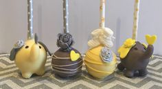 Baby elephant yellow and gray cake pops. Baby shower cake pops