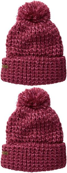 Coal Women's The Kate Waffle-Knit Beanie with Oversized Pom, Berry, One Size