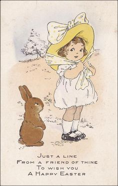 Girl wearing a bonnet wishing a Happy Easter to a brown rabbit, PU-1917