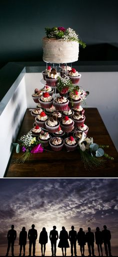LOVE this idea. Cupcakes for the reception with the smaller wedding cake on top. :) <3