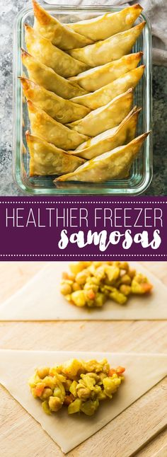 These healthy baked cauliflower chickpea samosas can be baked and stored in the freezer for an easy meal prep snack.  These samosas use egg roll wrappers, which cuts out a huge amount of prep work.