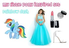 """my little pony inspired set: rainbow dash"" by altrisa-mulla ❤ liked on Polyvore featuring My Little Pony, Blush Prom and Isadora"