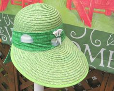 Womans Golf Hat Bright Green Beach Hat or by BuffaloDesigns, $15.00