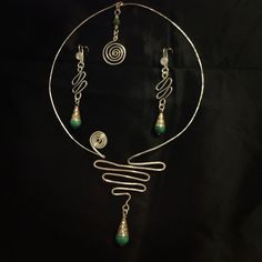 Turquoise/silver torque necklace and earrings set - wire wrapped