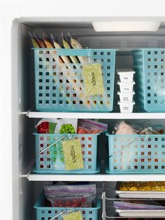 Freezer Baskets Utilitarian plastic baskets become a smart space-saver inside a crowded freezer. Use the baskets to organize packages by type (frozen pizzas in one, bags of vegetables in another, etc.) and nothing will get lost in the back of your freezer Freezer Organization, Freezer Storage, Kitchen Organization, Food Storage, Storage Organization, Storage Ideas, Organize Freezer, Freezer Meals, Organizing Ideas