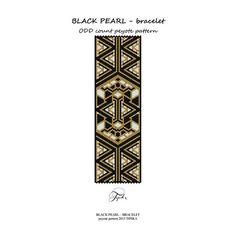 peyote pattern black pearl handmade bracelet by tipikabeadwork