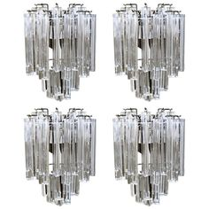 Set of Four Venini Italian Triedi Glass Wall Sconces | From a unique collection of antique and modern wall lights and sconces at https://www.1stdibs.com/furniture/lighting/sconces-wall-lights/
