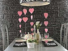 pendant light with hearts decorations, valentines day table decor