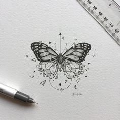 inspirational butterfly tattoo drawings, geometric tattoos, butterfly tattoo ideas for inspiration A Kunst Tattoos, Tattoo Drawings, Body Art Tattoos, New Tattoos, Art Drawings, Tatoos, Xoil Tattoos, Tattoo Sketches, Forearm Tattoos