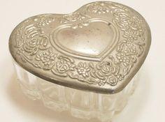 Glass Silver Trinket Box Heart Leaded  Vanity by dalesdreamsII