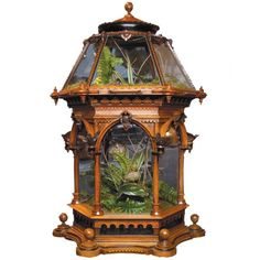 British Wardian Case, with carved wood/glass, c. 1860s. Filled with fern plants. ~ {cwl} ~ (Image: 1stdibs)