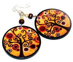Autumn treeearrings decoupage wheels orange brown by SzaraLotka, $12.00