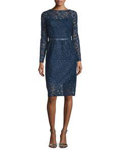 9297f27fe072 Monique Lhuillier Long-Sleeve Lace Cocktail Dress