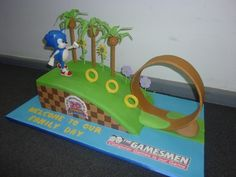 "Sonic's Anniversary Cake for ""The Gamesmen"" Computer Game Store Sonic Birthday Parties, Sonic Party, 11th Birthday, Birthday Cake, Bolo Sonic, Sonic Cake, Sonic The Hedgehog Cake, Hedgehog Birthday, Party Activities"