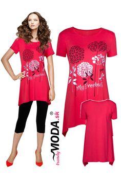 Trendy červená dámska tunika s potlačou kvetov Trendy, Jar, Jars, Glass
