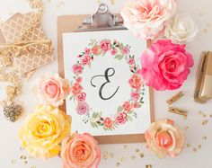 Monogram Nursery Letter E Print, Girl Nursery Decor, Floral Wreath, Printable Art, Instant Download, 8x10, Watercolor Art, Initial Print by SmudgeCreativeDesign on Etsy