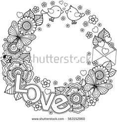 Vector Coloring page for adult. Rounder frame  made of flowers, butterflies, birds kissing and the word love. Ornamental Wreath design for Valentines Day cards
