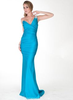 Chic Sheath/Column One-shoulder Sweep Train Matte Satin Evening Dress