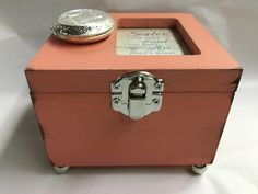 Locket Trinket Jewelry Box Distressed Coral Sister One Part Friend One Part Love