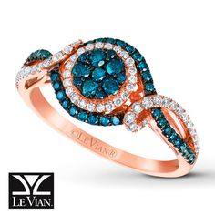 Jared - LeVian Blueberry Diamonds 5/8 ct tw Ring 14K Strawberry Gold