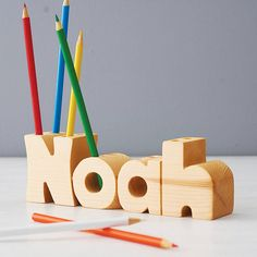 Personalised Name Pen Holder. A unique wooden pen holder personalised in the shape of a name. Personalised pen holders are beautifully handcrafted to order in the name of your choosing. Personalised Pens, Personalized Gifts, Wooden Gifts, Wooden Toys, Wooden Pen Holder, Shabby, Pen Holders, Lower Case Letters, Kids Room