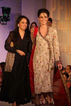 Pakistani designer Nida Azwer with Pakistani actor/model Sonia Jehan