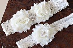 Wedding garter set Ivory garter set Vintage by AnnabelleCollection. $29.99 USD, via Etsy.