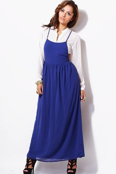 #1015store.com #fashion #style Cobalt blue backless chiffon maxi jumper dress-$15.00