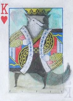 Acrylics and graphite pencil on playing card ACEO inches) Sold Prints not available Seth Fitts, 2011 My work may be shared . King of Hearts: Wolf ACEO Playing Cards Art, Playing Card Games, Michelangelo, Play Your Cards Right, Deck Of Cards, Card Deck, Alice, King Of Hearts, Artist Trading Cards