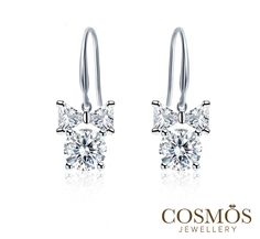 Bow Knot Earrings With De Soleil Synthetic Diamond Set In 925 Silver Coated 3 Layers