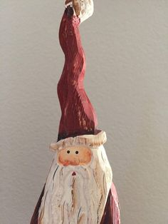 Hand Carved Hand Painted Wooden Tall Skinny Santa Claus