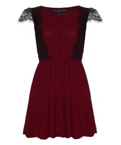 Look what I found on #zulily! Burgundy Lace Cap-Sleeve Dress by Iska London #zulilyfinds