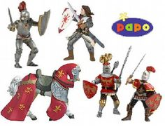 "The Papo Red Knights Gift Set is an excellent addition to any Le Toy Van castle or Papo castle playset. It gives kids all of the figures they need to lead spirited action-packed battles of knightly courage! The Papo Red Knights Gift Set features 4 knight figures and 1 horse figure, which will enhance the imaginative play of castles and battles! Each moulded plastic Papo figure of the Red Knights Gift Set measures approximately 3.5"" tall and is both highly detailed and hand-painted. The Pap…"