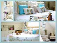 Beautiful beach themed bedroom! #beach_theme #bedrooms:i love the walls & the built in shelf