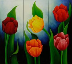 Floral Triptych Painting Signed Mexican Fine Art - Tulips in Blue Tulip Painting, Sailboat Painting, Flower Painting Canvas, Artist Painting, Colorful Wall Art, Floral Wall Art, Colorful Paintings, Floral Paintings, Art Paintings