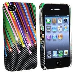 eForCity Rainbow Star Rubber Hard Skin Cover Case Compatible With iPhone® 4 G iPhone® 4S - AT, Sprint, Version 16GB 32GB 64GB