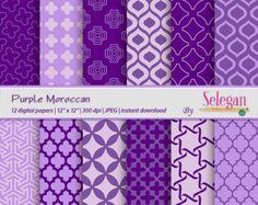 "purple digital paper ""Purple Moroccan"" scrapbook paper moroccan decor arabic pattern purple background"