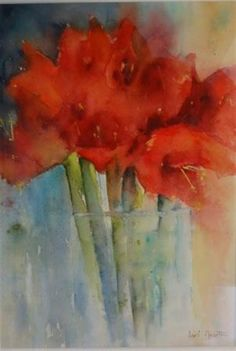 Winners of the Jean Haines Flower Painting Competition. Amaryllis by Lori North