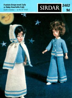Vintage 1967 Sirdar 2462 Majestic 3 ply Sindy Doll Clothes Knitting Pattern Size Doll by on Etsy Tunisian Crochet Patterns, Knitting Patterns, Knit Crochet, Long Skirt And Top, Sindy Doll, Barbie Patterns, Retro Toys, Vintage Knitting, Striped Knit