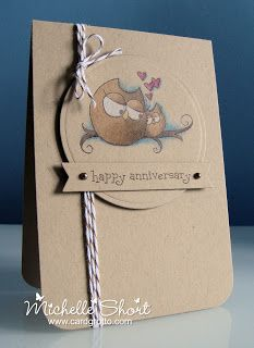hand crafted anniversary card ... all kraft ... adorable owl couple colored with markers ... luv it!
