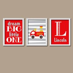 Firetruck Wall Art Nursery Canvas Artwork Boy Child Fireman Red Custom  Monogram Name Set Of 3 Prints Baby Decor Three