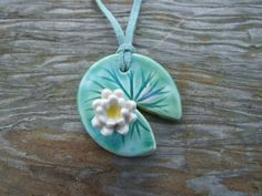 Water lily necklace ceramic green leaf  lily pad (12.00 GBP) by damsontreepottery