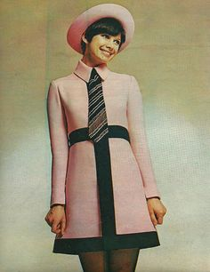 Cute dress? Check! Cute hat? Check! Cute tie? Check! Cute smile? Check! 1960s (Ted Lapidus, French Vogue April 1969) | via Classic Style of Fashion (First)