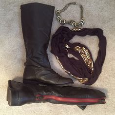 "⚡️SALE⚡️Brown faux leather knee high riding boots Brown faux leather knee high riding boots NWOB. Gorgeous zipper closure in back with red fabric accent. Zipper is antique gold tone hardware. Would look amazing with a chunky sweater! Brand is Mix No. 6. Purchased from DSW & never worn. 1"" heel, 18"" tall. Size 9.5. Bundle to save!$   NO TRADES. NEGOTIATE VIA OFFER BUTTON. Shoes Heeled Boots"