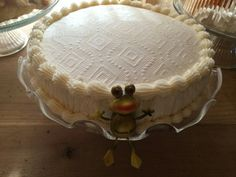 My puerto rican rum cake with a coqui hanging out...