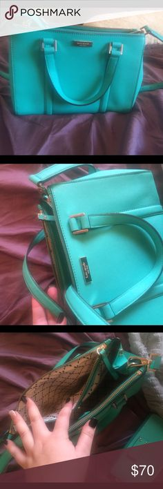 Kate Spade Crossbody Seafoam Green Purse Seafoam green Kate Spade purse with interior pockets (2 side). Worn for about a season. No major damage. Selling for less because it has been loved :) beautiful color. Price firm. No trades. Wallet in some pictures is in separate listing. kate spade Bags