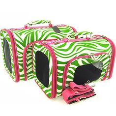 Sturdy Canvas Zebra Print Pet Carrier 2 Piece Set w/ Carry Straps for Dog or Cat Pink and Green *** Continue to the product at the image link.