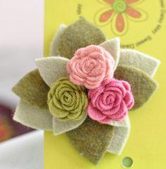 Wool Felt Flower Clip  Childrens Hair Accessories