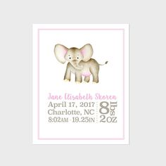 Personalized birth stats elephant includes all birth info and elephant birth announcement wall art baby birth stats print watercolor elephant nursery decor pink gray tan baby girl elephant baby gift negle Choice Image